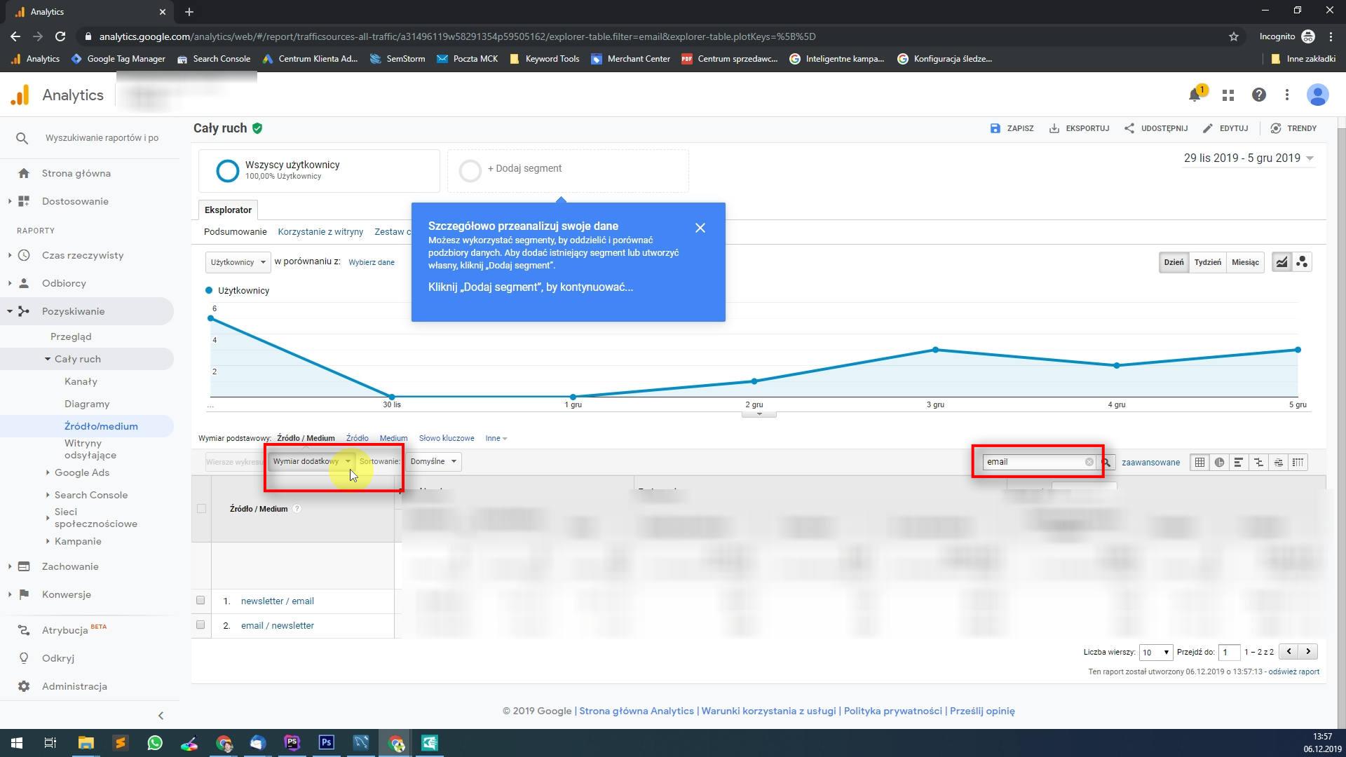 Kolejny tagiem jaki się bardzo często dokleja jest tag: utm_campaign oznaczający kampanię reklamową jaka była prowadzona. Aby rozszerzyć widok o dane z tego tagu wystarczy kliknąć: Wymiar dodatkowy i wybrać Kampania.